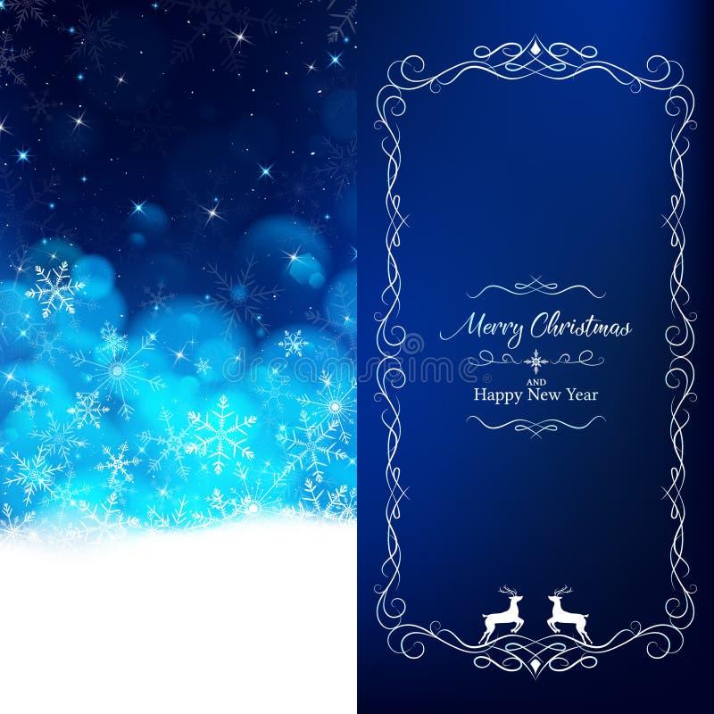 De blauwe Kerstkaart verdeelt 2 pagina's vector illustratie