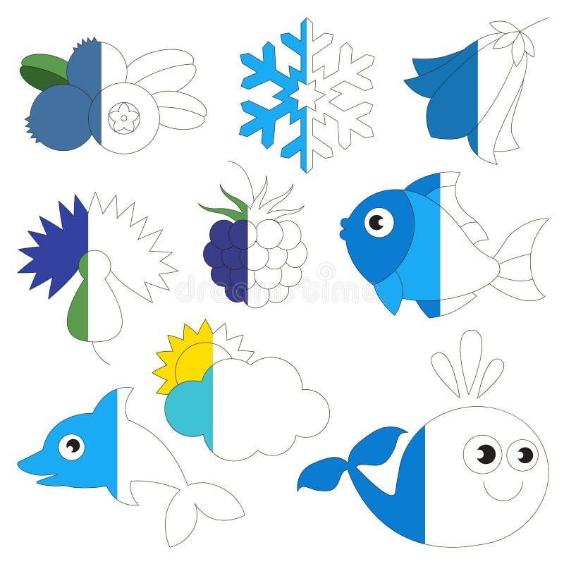 De blauwe Kleur heeft bezwaar, het grote jong geitjespel dat door voorbeeld half moet worden gekleurd royalty-vrije illustratie