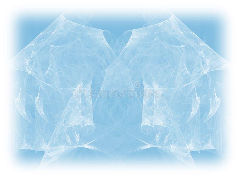De blauwe kleur stemde zwart-wit abstracte fractal illustratie Langzaam verdwenen Achtergrond stock illustratie