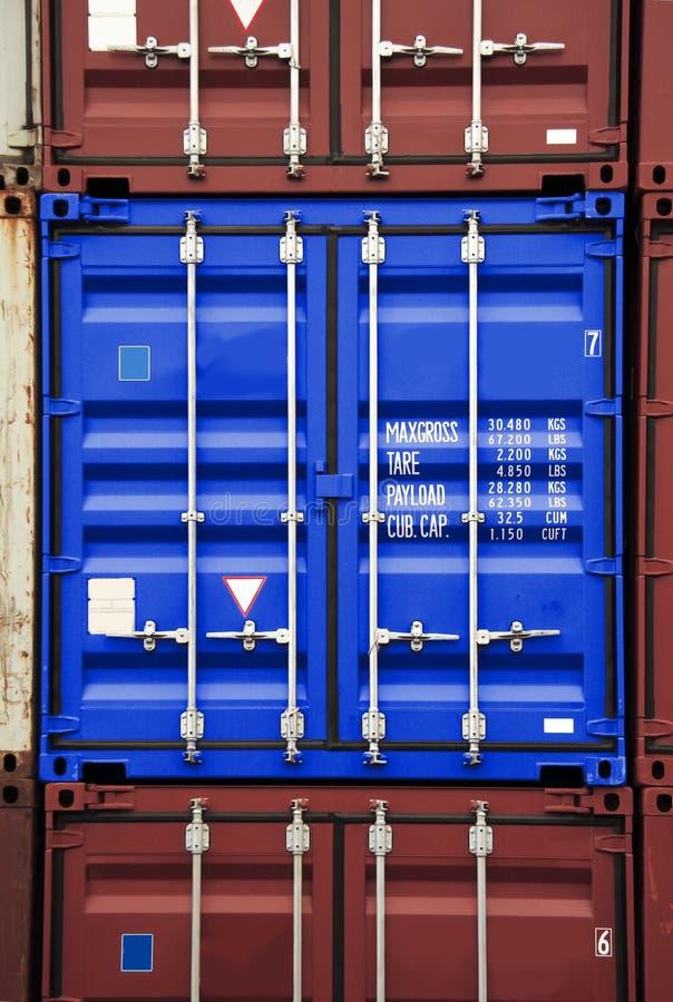 De blauwe kleur van de container stock foto's