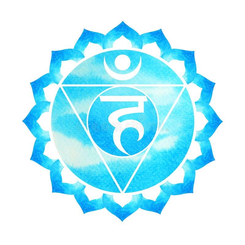 De blauwe kleur van de keelconcept van het chakrasymbool, bloeit bloemen stock illustratie