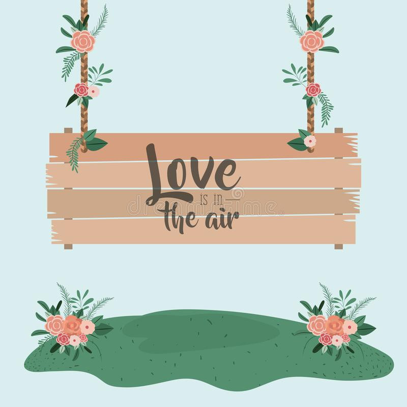 De blauwe kleurrijke scène als achtergrond met houten hangende affiche met tekst met liefde is in de lucht en het gras met bloeme vector illustratie