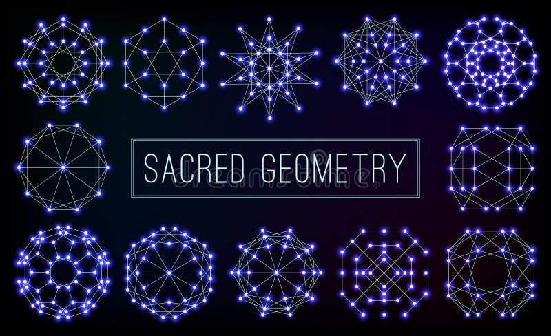 De blauwe kosmische heilige vectorreeks van meetkundesymbolen stock illustratie