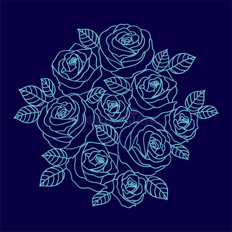 De blauwe kroon van overzichtsrozen op de donkerblauwe achtergrond Bloemende royalty-vrije illustratie