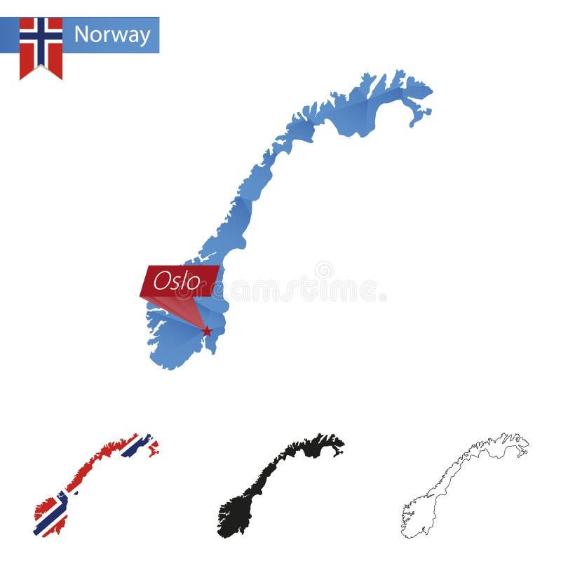 De blauwe Lage Polykaart van Noorwegen met hoofdoslo stock illustratie