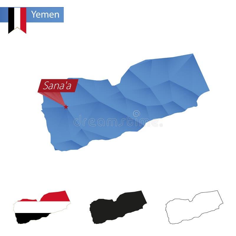 De blauwe Lage Polykaart van Yemen met hoofdsanaa stock illustratie