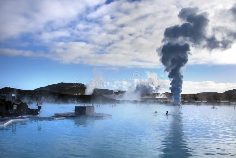 De Blauwe Lagune Geothermische Hete Lentes - IJsland stock afbeeldingen