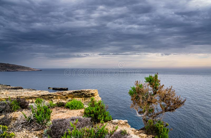 De blauwe lagune op Comino-eiland, Malta Gozo royalty-vrije stock afbeeldingen