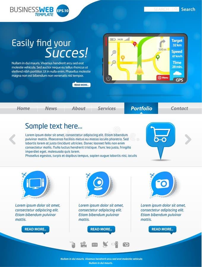 De blauwe lay-out van het bedrijfsWebmalplaatje vector illustratie