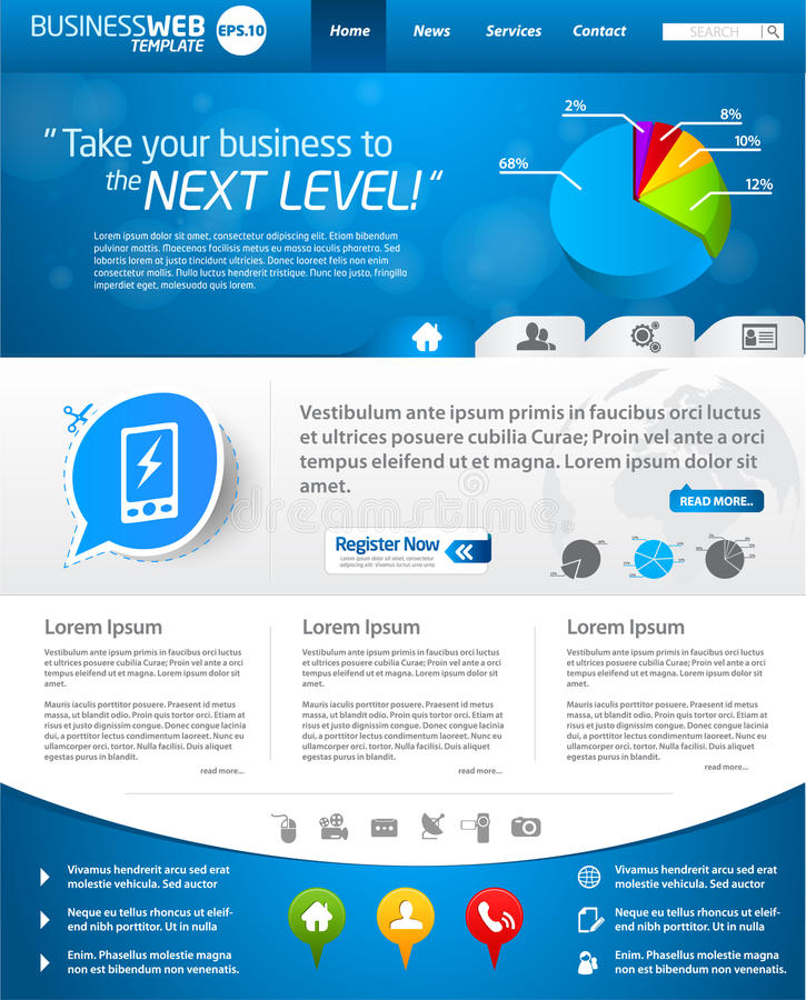 De blauwe lay-out van het bedrijfsWebmalplaatje stock illustratie