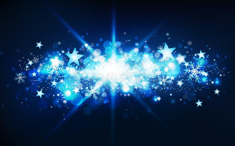 De blauwe magische uitbarsting van fantasiesterren, de vallende sterrenwintertijd, de confettien, de sneeuwvlokken en de stof glo royalty-vrije illustratie