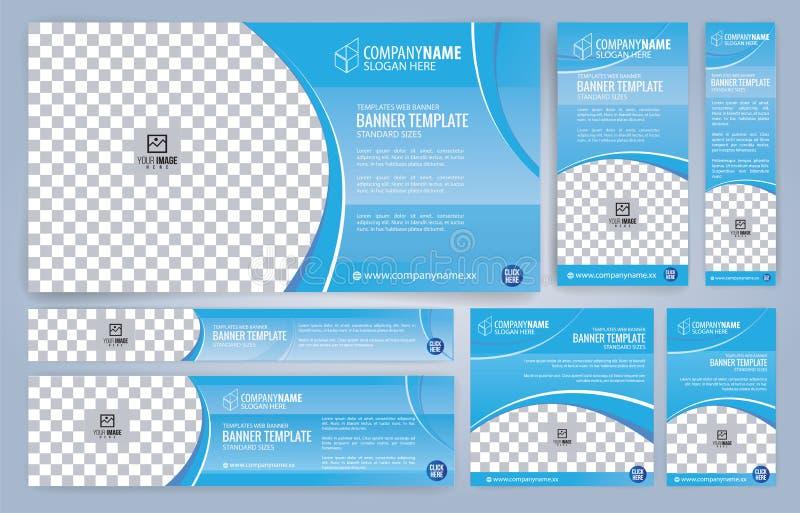De blauwe malplaatjes van Webbanners, standaardgrootte met ruimte voor foto vector illustratie