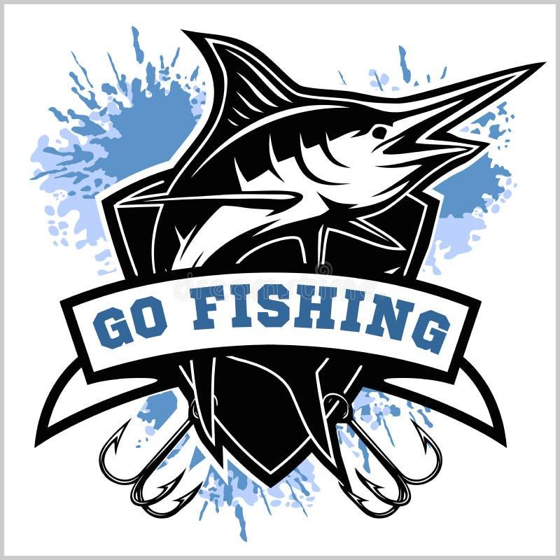 De blauwe marlijn illustratie van het visserijembleem Vector illustratie stock illustratie