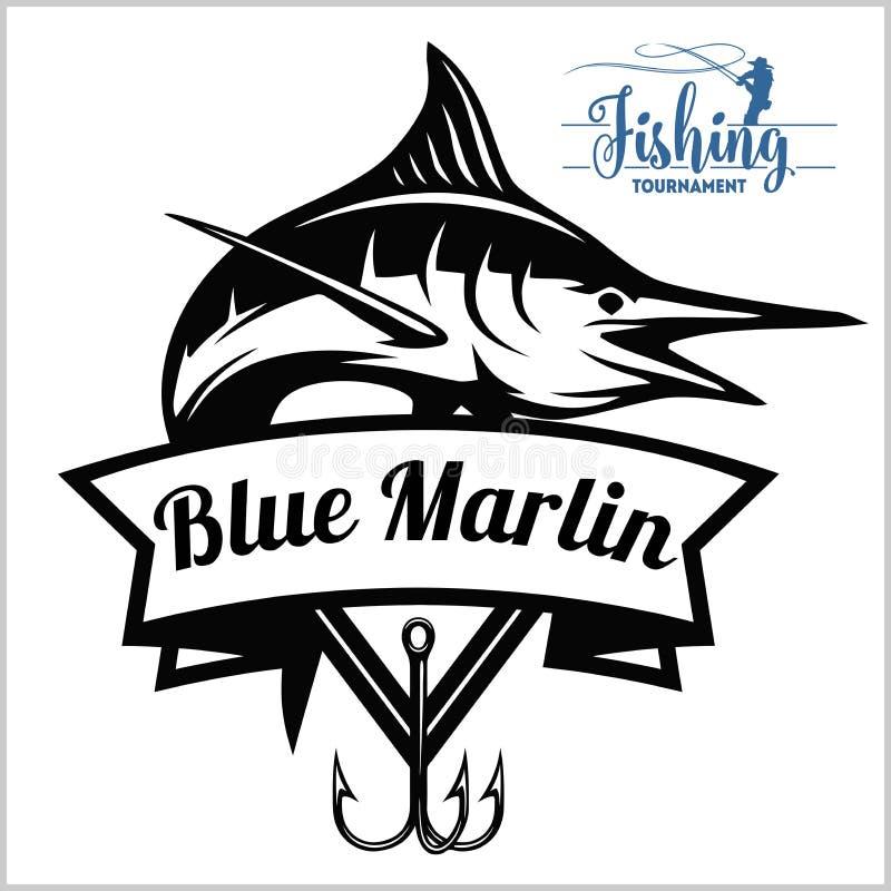 De blauwe marlijn illustratie van het visserijembleem Vector illustratie royalty-vrije illustratie