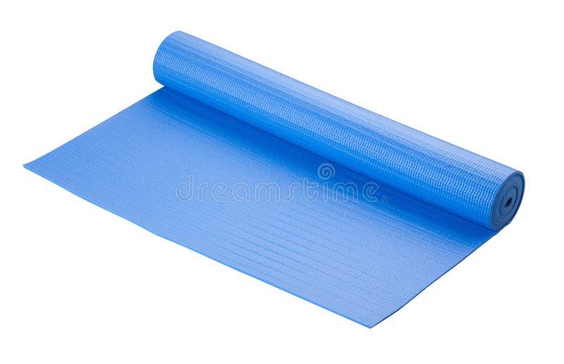 De blauwe mat van de Yoga stock fotografie
