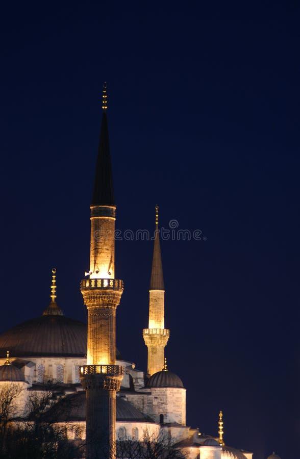 De blauwe Minaretten van de Moskee stock afbeeldingen
