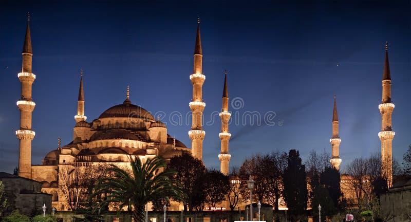 De blauwe Moskee bij Nacht stock foto