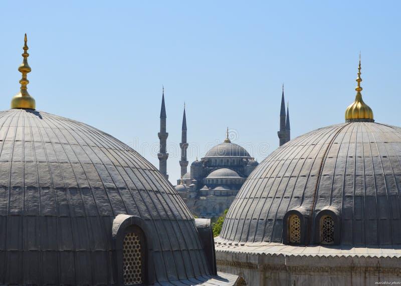 De blauwe moskee in de mening van Istanboel van cathedra stock afbeeldingen