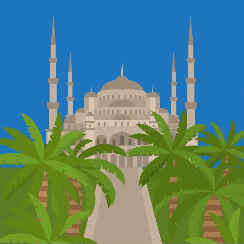 De Blauwe Moskee, Sultanahmet Camii, de Islamitische architectuur van Istanboel, Turkije, het Midden-Oosten vector illustratie