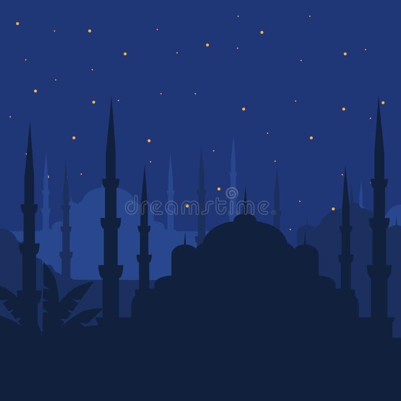 De Blauwe Moskee, Sultanahmet Camii, de Islamitische architectuur van Istanboel, Turkije, het Midden-Oosten in Nacht stock illustratie