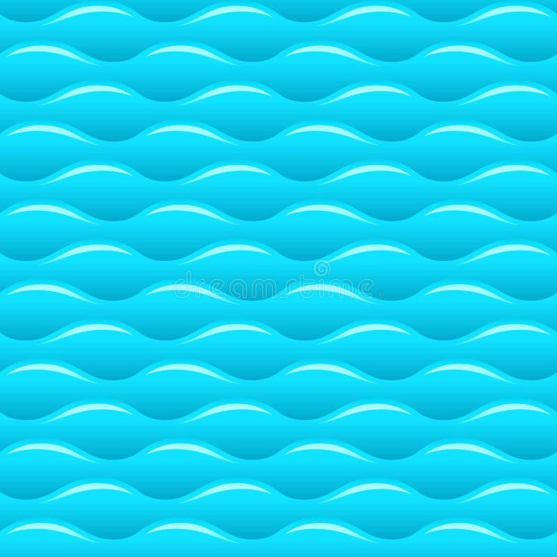 De blauwe naadloze vectortextuur of het patroon van watergolven stock illustratie