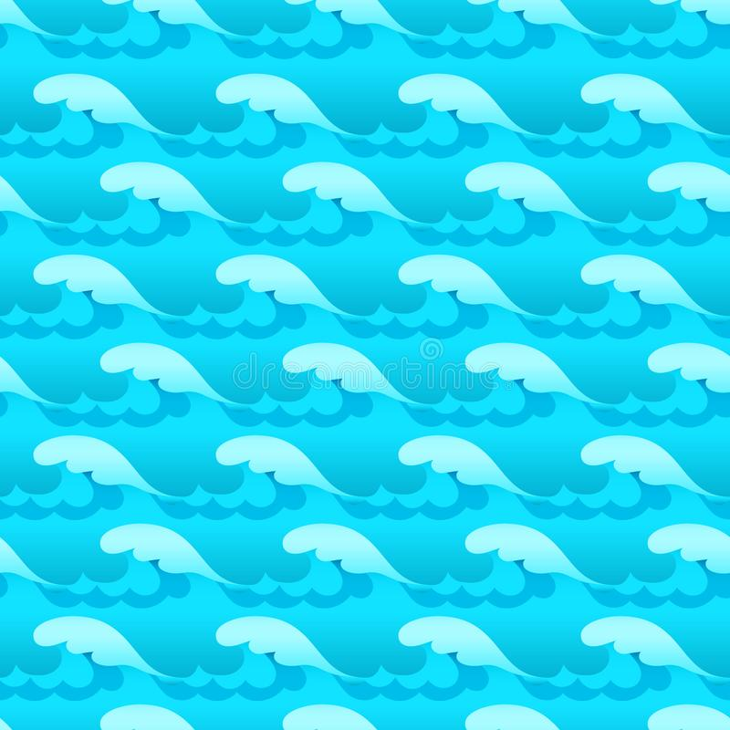 De blauwe naadloze vectortextuur of het patroon van watergolven vector illustratie
