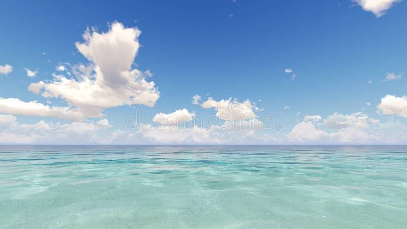 De blauwe oceaan en bewolkte 3D hemel geeft terug vector illustratie