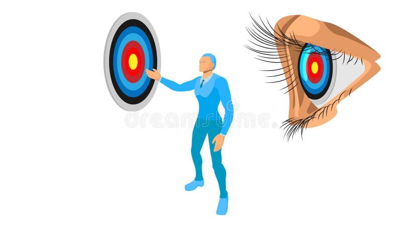 De blauwe ondernemers tonen het doel aan het onderwerp illustratienadruk op het doel vector illustratie