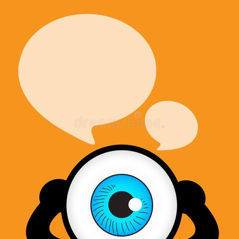 De blauwe oogbespreking met bellencitaat vector illustratie