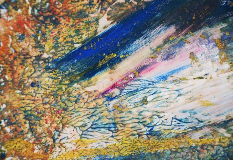 De blauwe oranje gouden roze structuur van de verfwaterverf, vat levendige achtergrond samen royalty-vrije stock foto