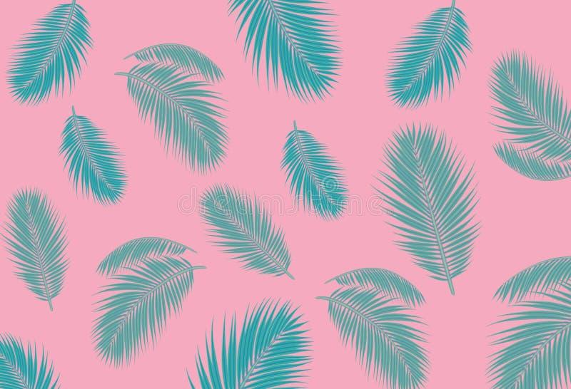 De blauwe Palm doorbladert roze achtergrondconceptenillustratie stock illustratie