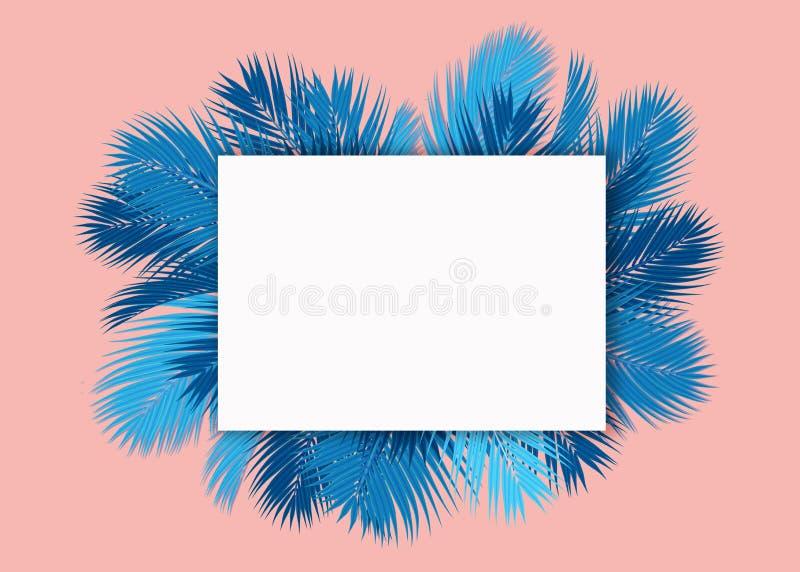 De blauwe Palmen doorbladert leeg kaart roze concept als achtergrond stock illustratie