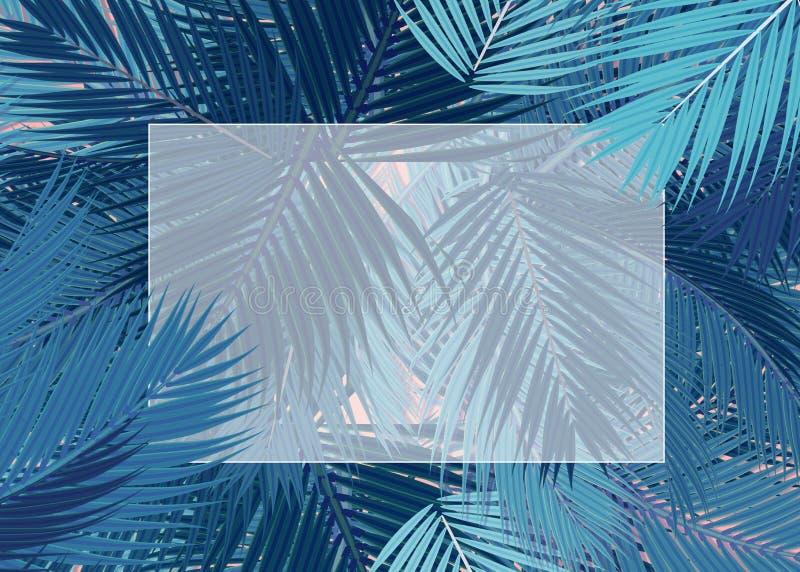 De blauwe Palmen doorbladert leeg kaartconcept vector illustratie