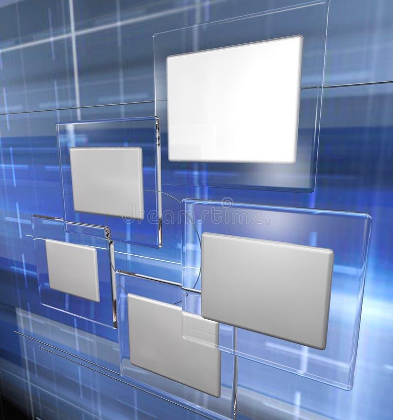 De blauwe panelen van technologie, stock illustratie