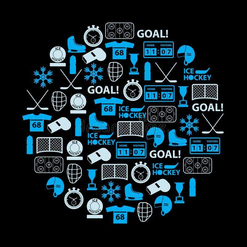 De blauwe pictogrammen van de ijshockeysport die in cirkel worden geplaatst stock illustratie