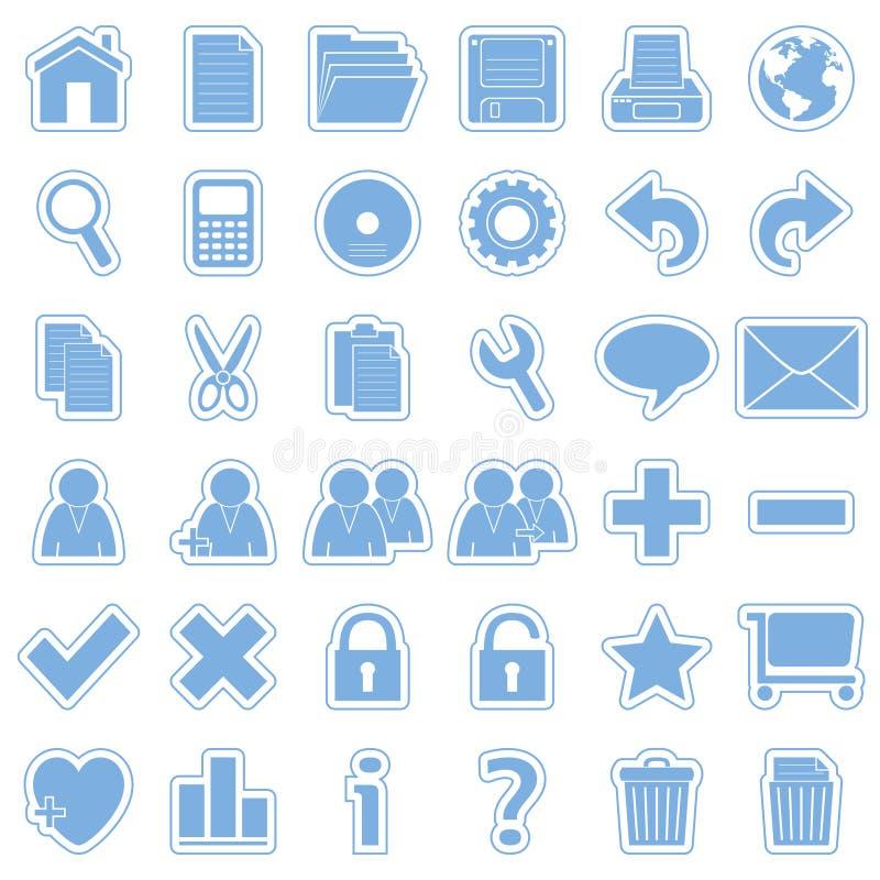 De blauwe Pictogrammen van de Stickers van het Web [1] vector illustratie
