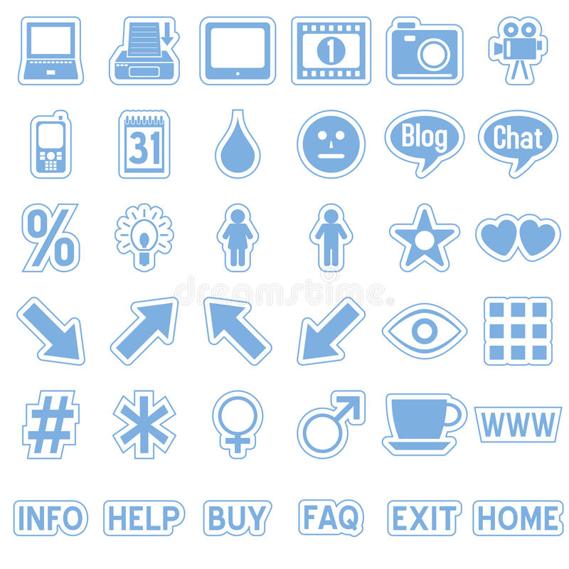 De blauwe Pictogrammen van de Stickers van het Web [4] royalty-vrije illustratie