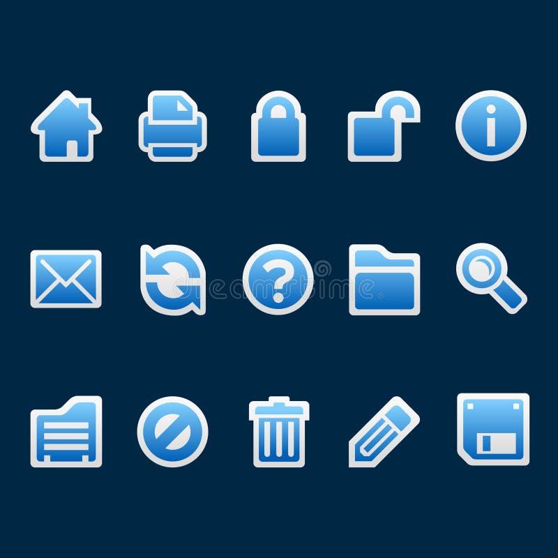 De blauwe pictogrammen van het stickerWeb royalty-vrije illustratie