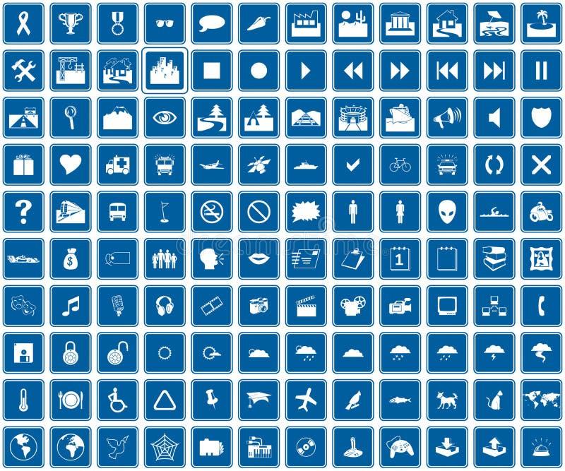 De blauwe pictogrammen van het Web stock illustratie