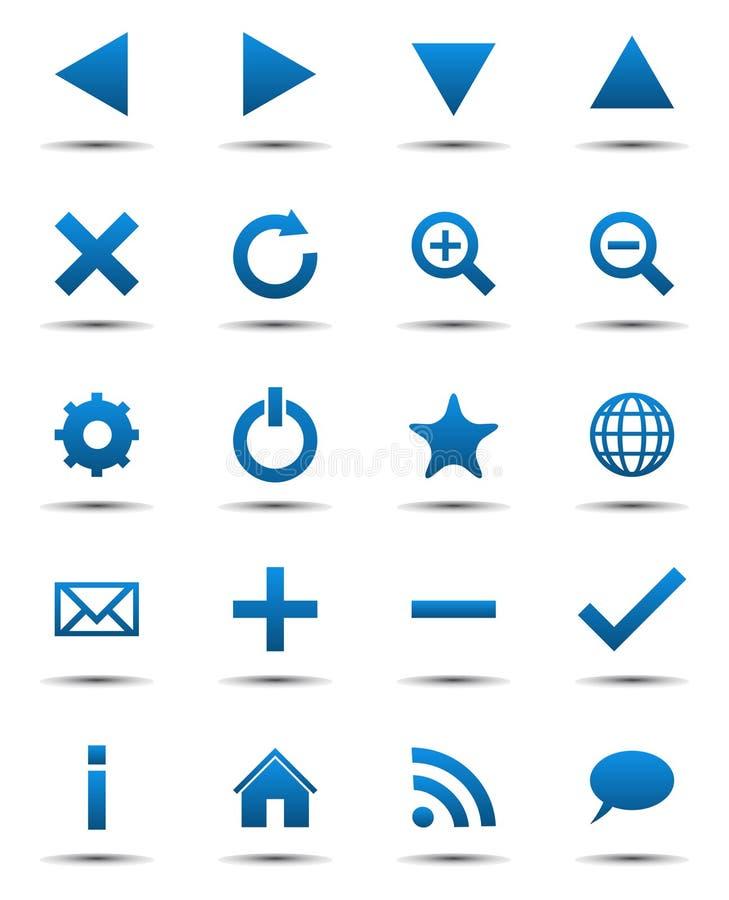 De blauwe Pictogrammen van het Web van de Navigatie royalty-vrije illustratie