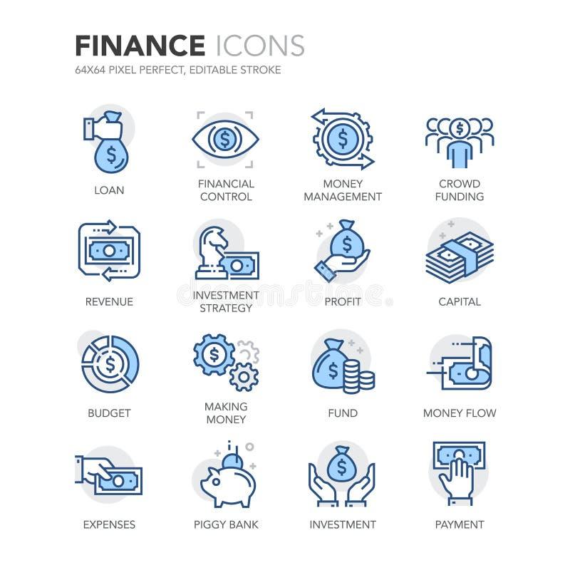 De blauwe pictogrammen van lijnfinanciën stock illustratie