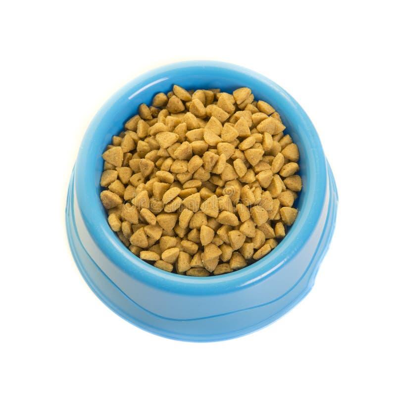 De blauwe plactic die het voeden kom met kat wordt gevuld verbrokkelt gezien van een hig royalty-vrije stock fotografie