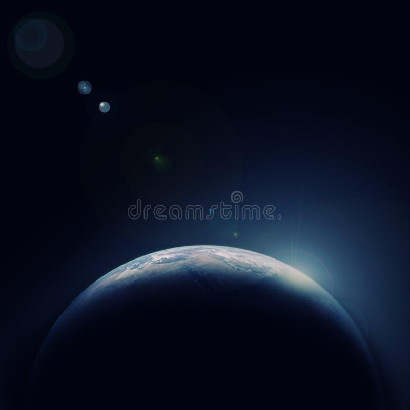 De blauwe planeet van de aarde in ruimte met ster stock illustratie