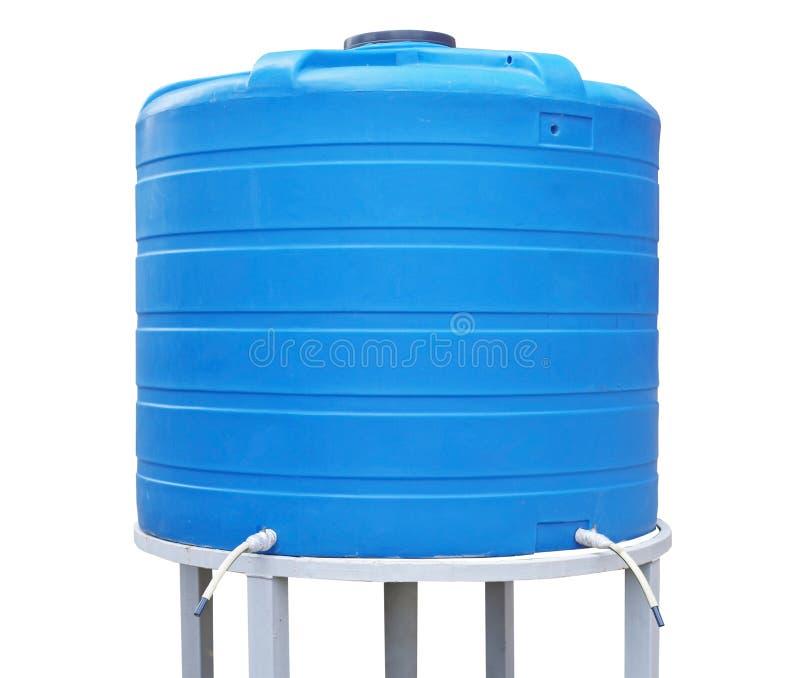 De blauwe plastic tank van de wateropslag op witte achtergrond royalty-vrije stock afbeeldingen