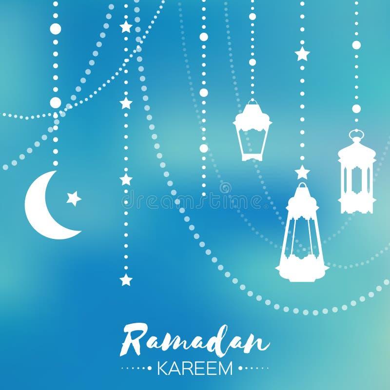 De blauwe Ramadan Kareem-kaart van de vieringsgroet Hangende Arabische lamp,