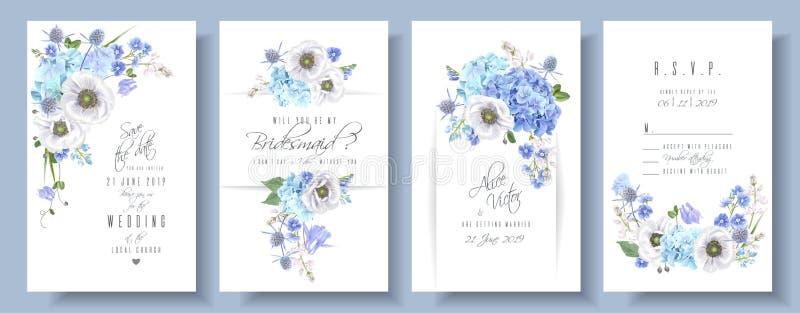 De blauwe reeks van het anemoonhuwelijk vector illustratie