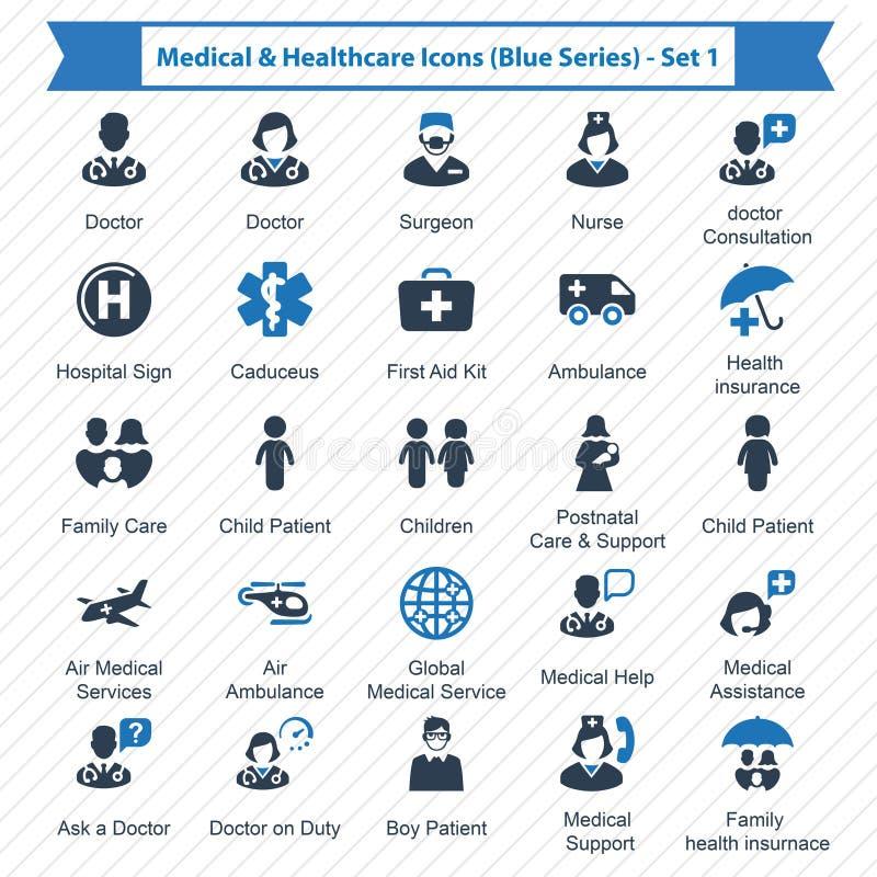 De Blauwe Reeks van medische & Gezondheidszorgpictogrammen - Reeks 1 stock illustratie