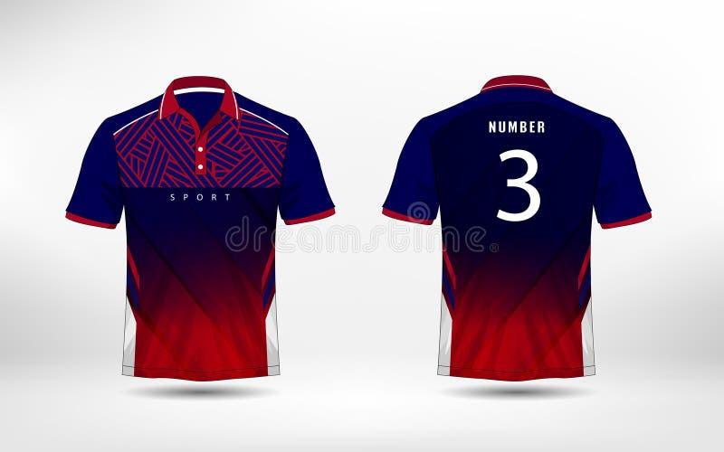De blauwe, rode en witte t-shirt van de de voetbalsport van de lijnenlay-out, uitrustingen, Jersey, het malplaatje van het overhe vector illustratie