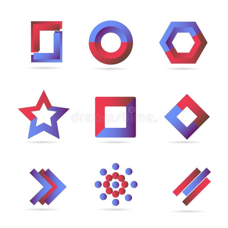 De blauwe rode geplaatste elementen van embleempictogrammen stock illustratie