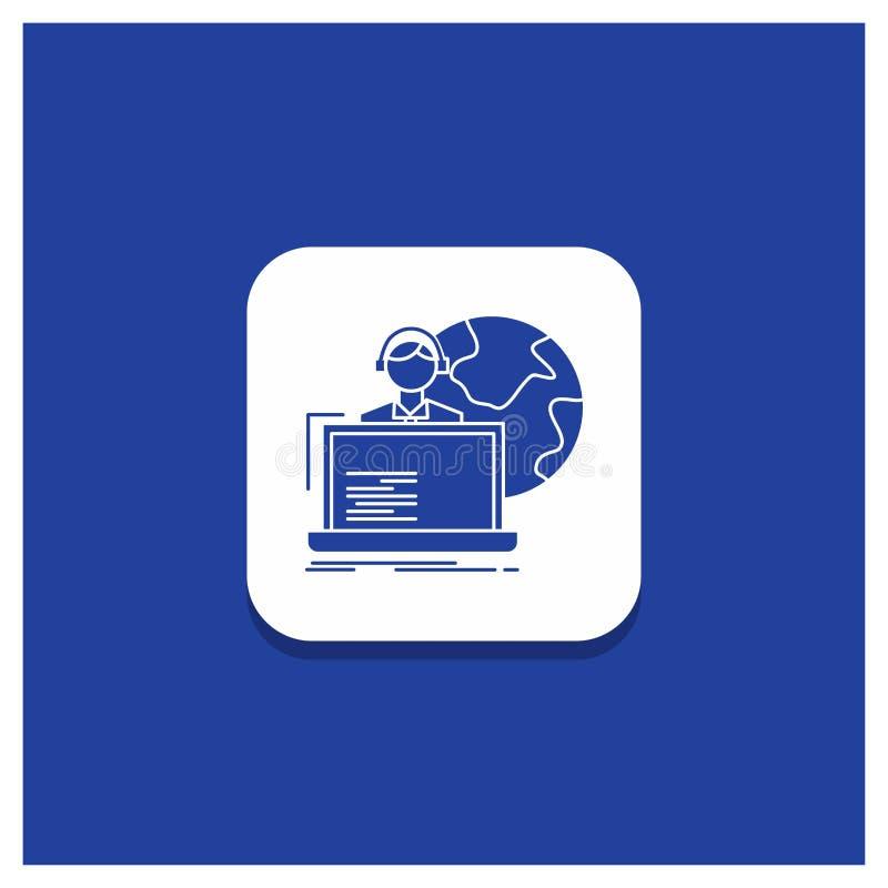 De blauwe Ronde Knoop voor delocaliseert, delocalisering, toewijzing, menselijk, online Glyph-pictogram stock illustratie